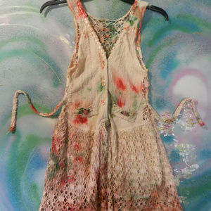 OOAK custom tie dye Vtg lace tatting pinafore vest